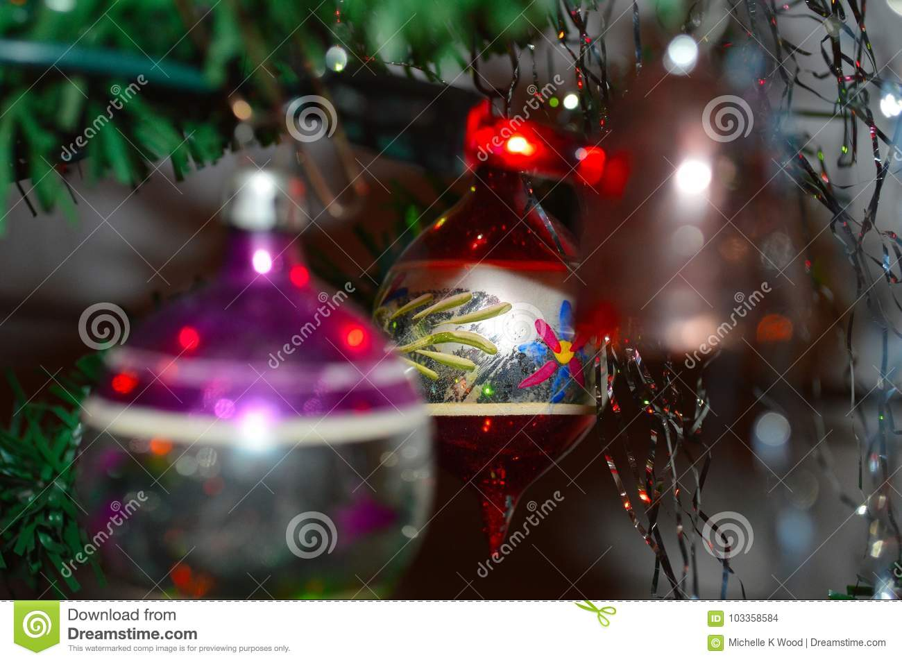 Old Fashioned Round Glass Christmas Tree Ornament Stock Photo ...