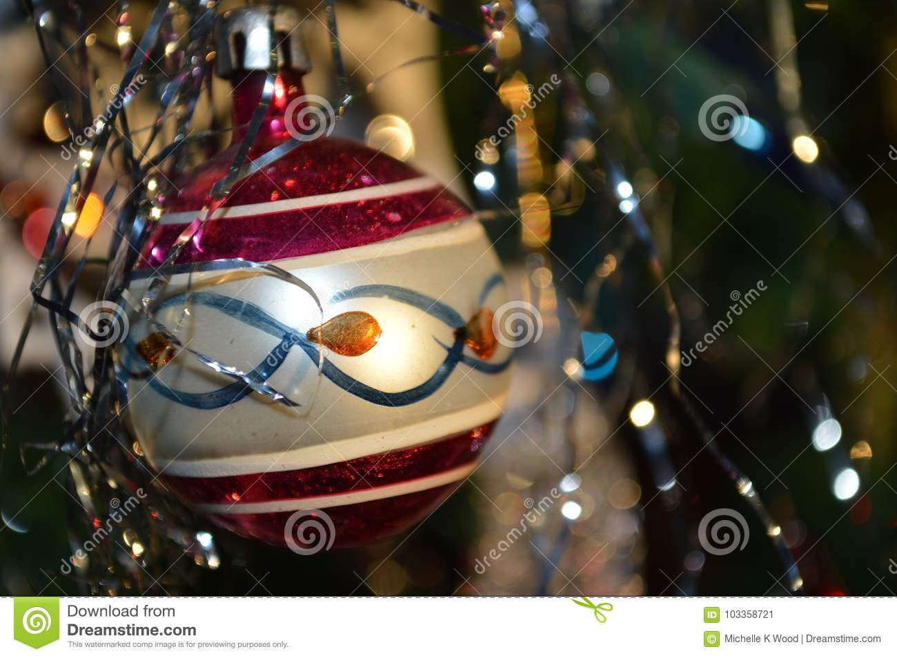Old Fashioned Round Glass Christmas Tree Ornament Stock Image Image Of Home Highlights 103358721