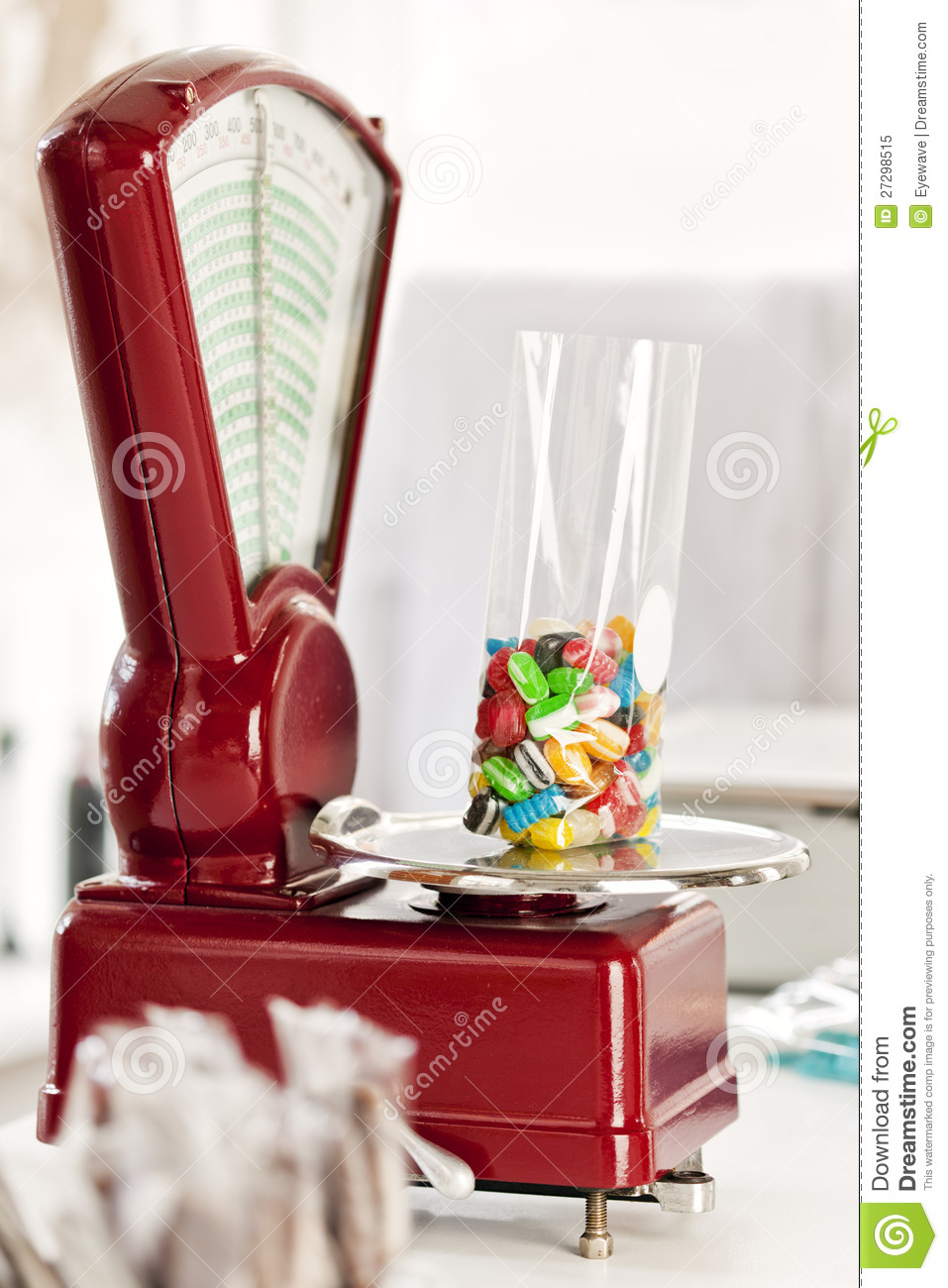 Old-fashioned Scales At Candy Store Stock Image
