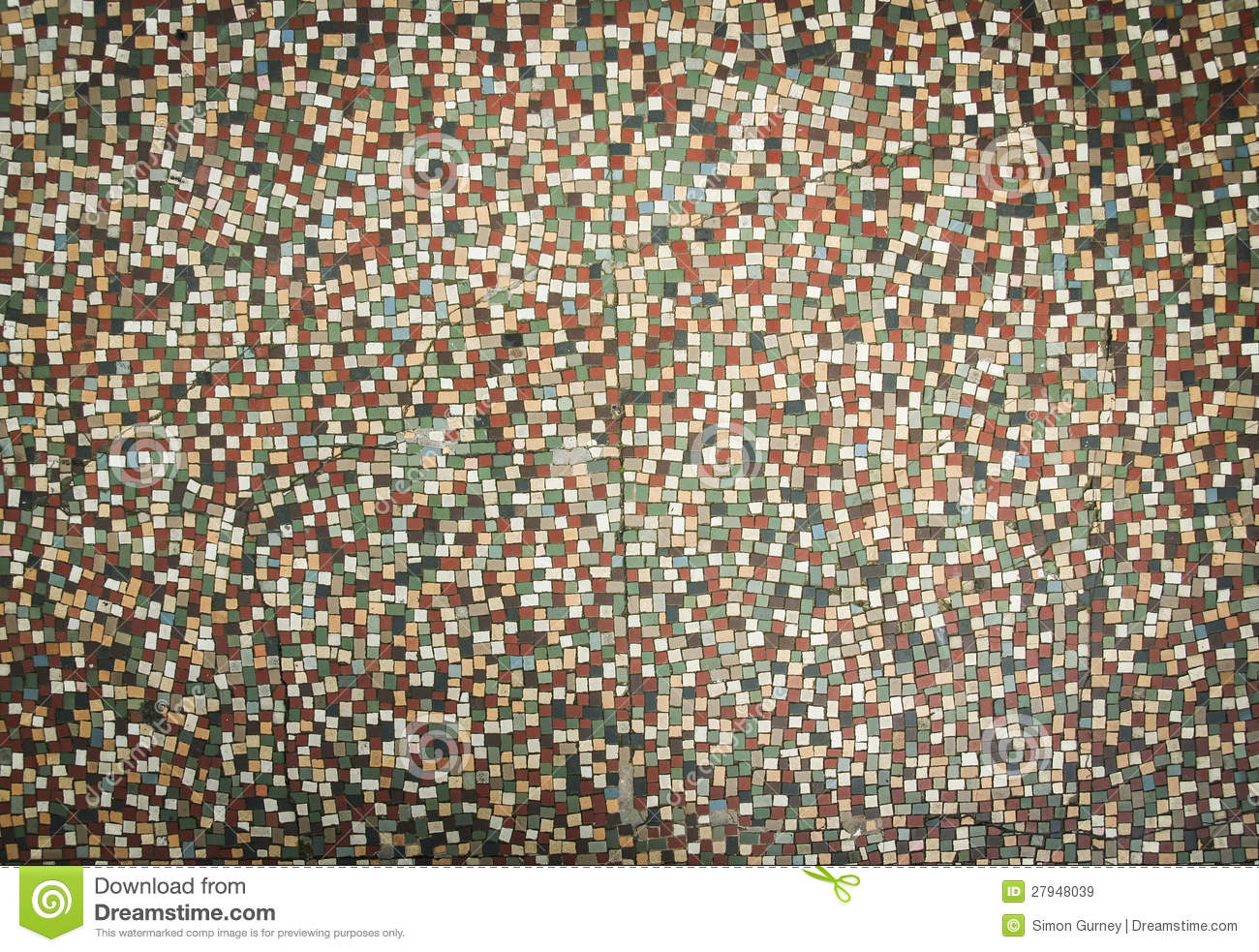 Old Fashioned Small Tiles Mosaic Background Stock Image