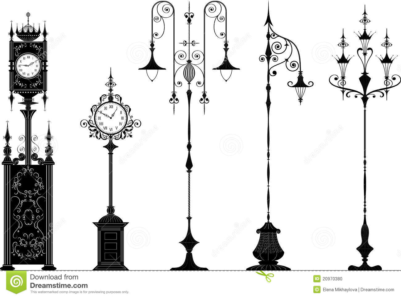Old Fashioned Street Lanterns And Clocks Stock Vector