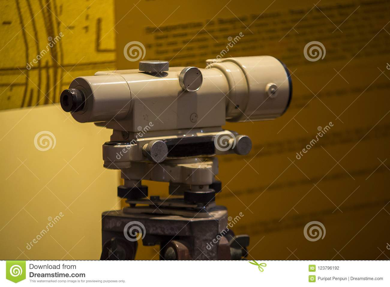 Old-fashioned theodolite camera used to explore the land.