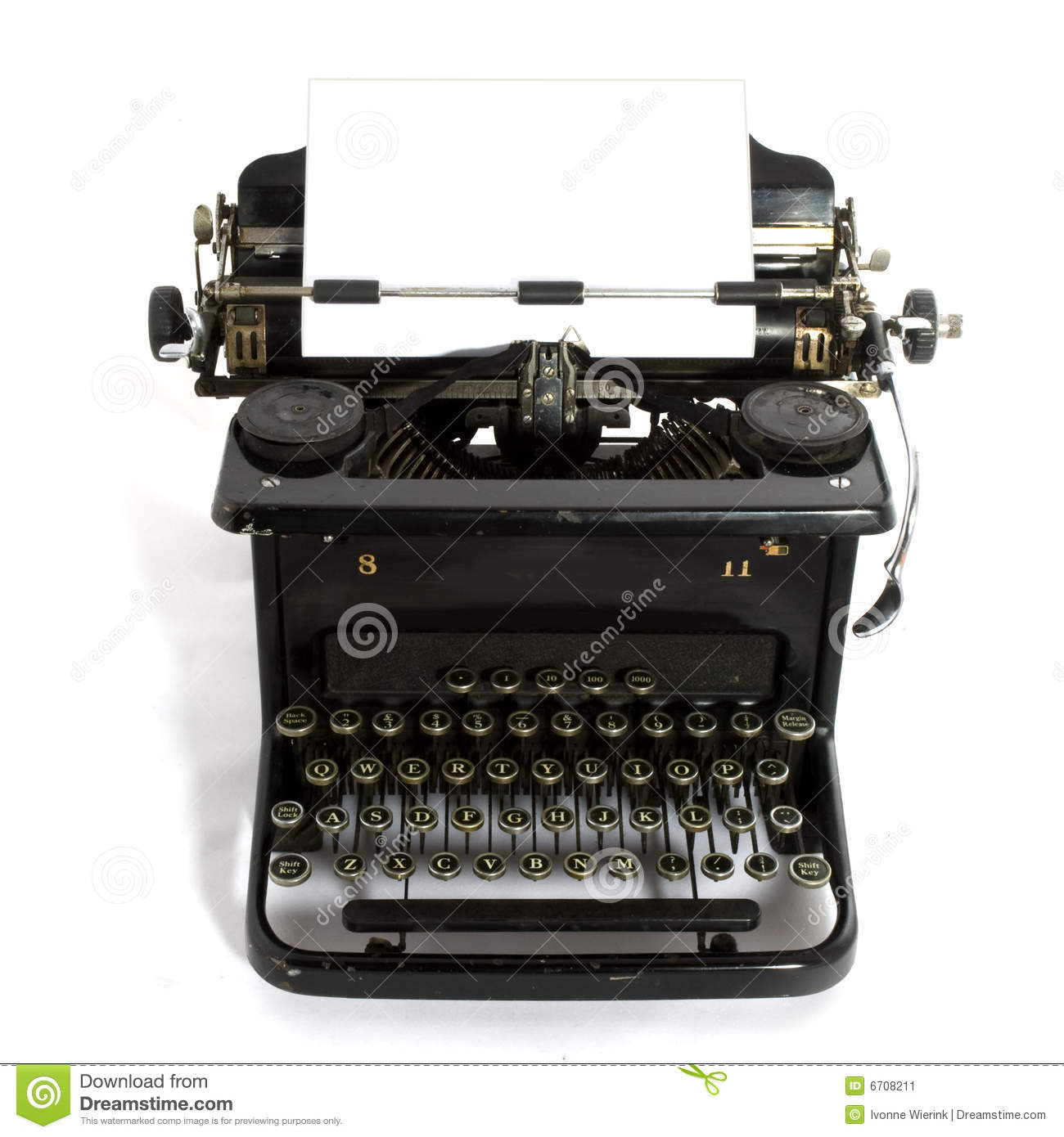 Black old-fashioned typewriter with white paper for your text.