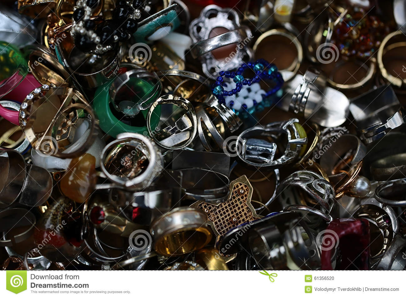 Old-fashioned used finger-rings piled together