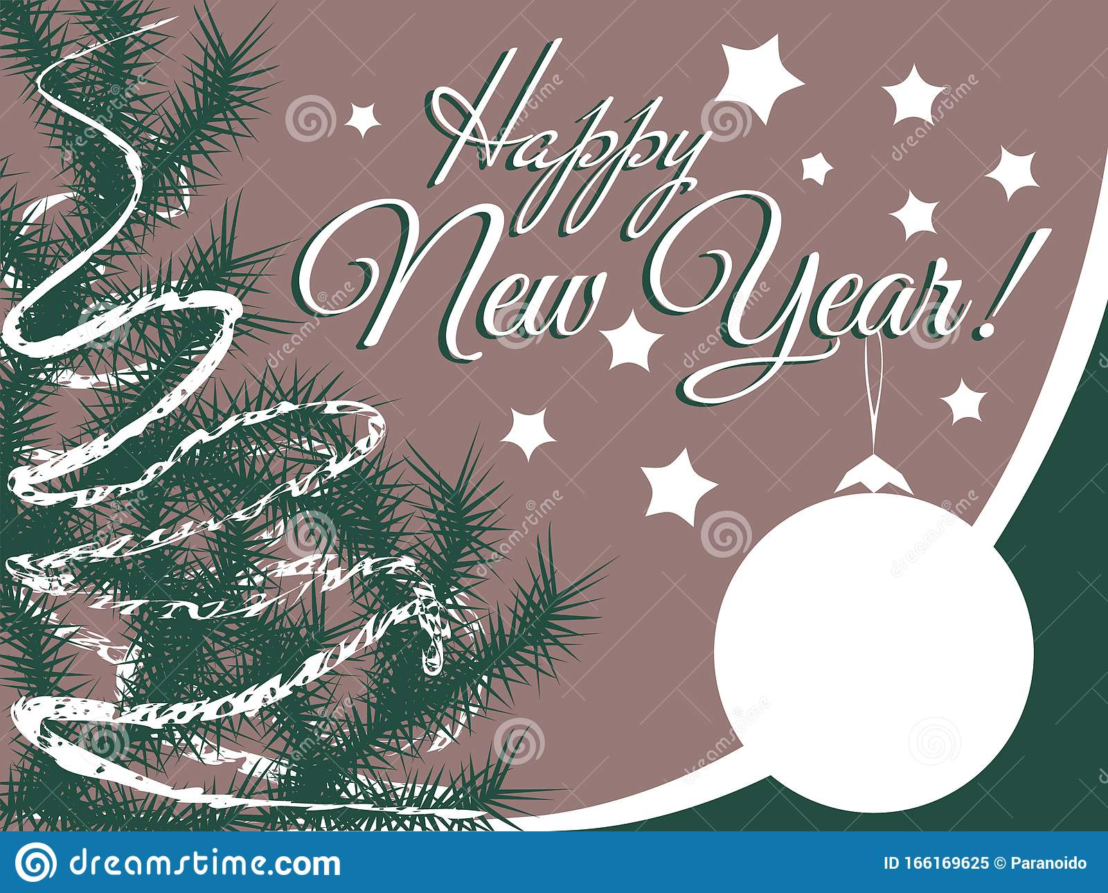 Old Fashioned Vintage Greeting Card In Faded Colors Christmas Tree And Ball Text Happy New Year Stock Vector Illustration Of Pastel Decoration 166169625