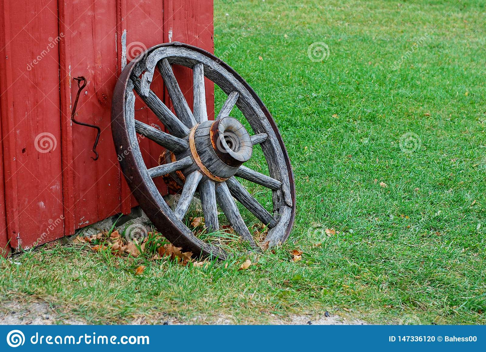 Vintage Wagon Wheel Stock Photo