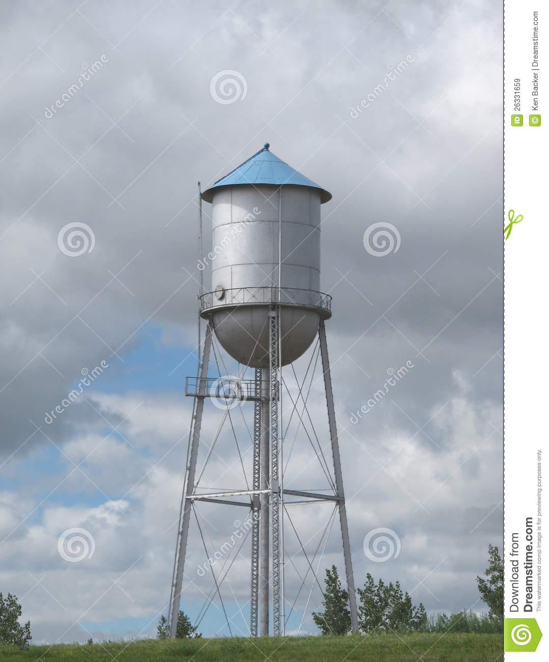Old Fashioned Water Tower On A Hill Royalty Free Stock