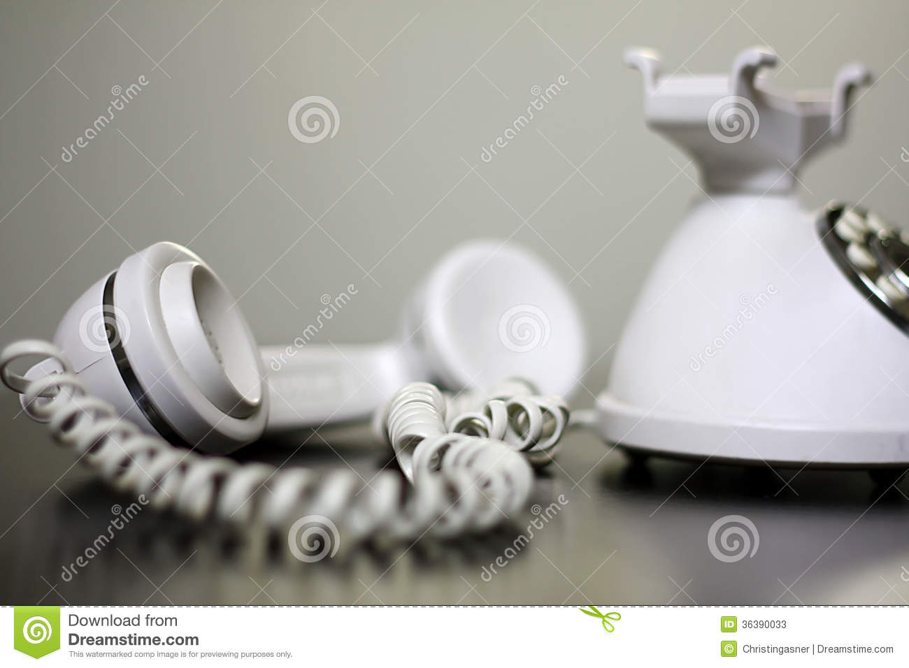 Old Fashioned White Telephone Off The Hook Stock Image Image Of