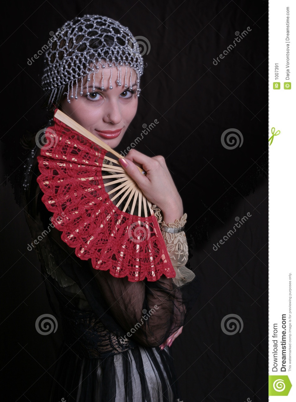 Old Fashioned Woman With Fan Stock Image - Image: 1007391