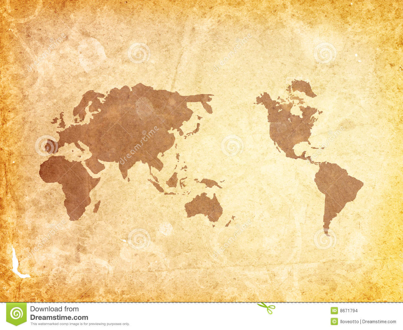 Old fashioned World map stock illustration. Illustration of