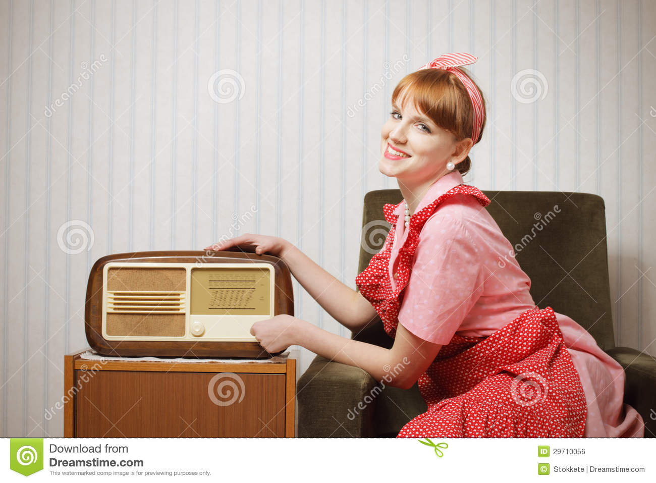 Retro house wife listening to the radio royalty free stock for Classic house radio