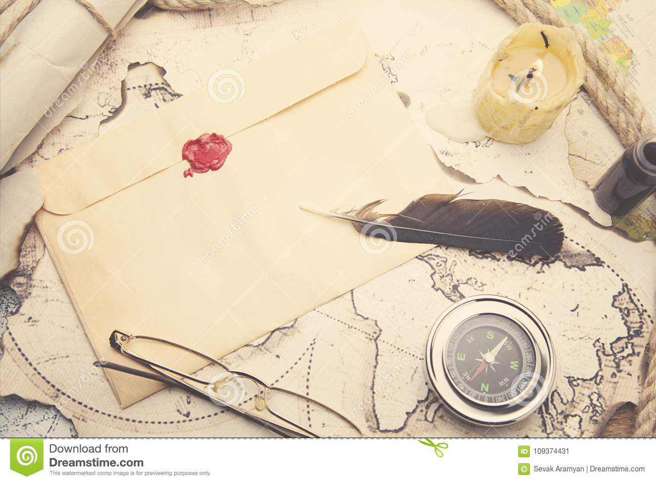 Old feather, envelope, sealing wax