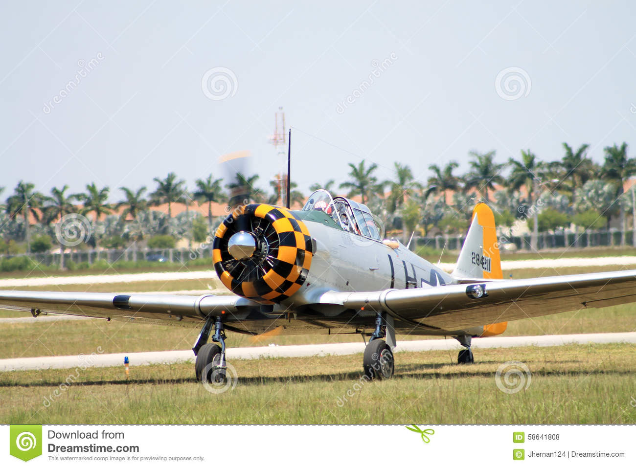 Old fighter plane landing editorial stock photo  Image of