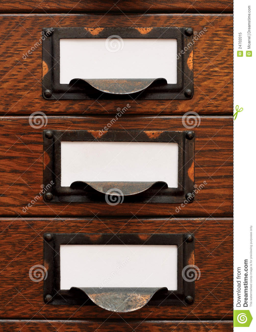 Old File Drawers With Blank Labels Stock Image Image