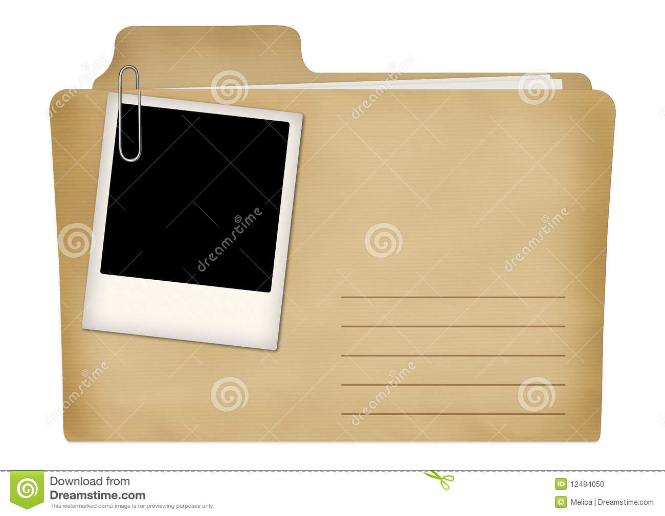 old file with photo frame stock photo
