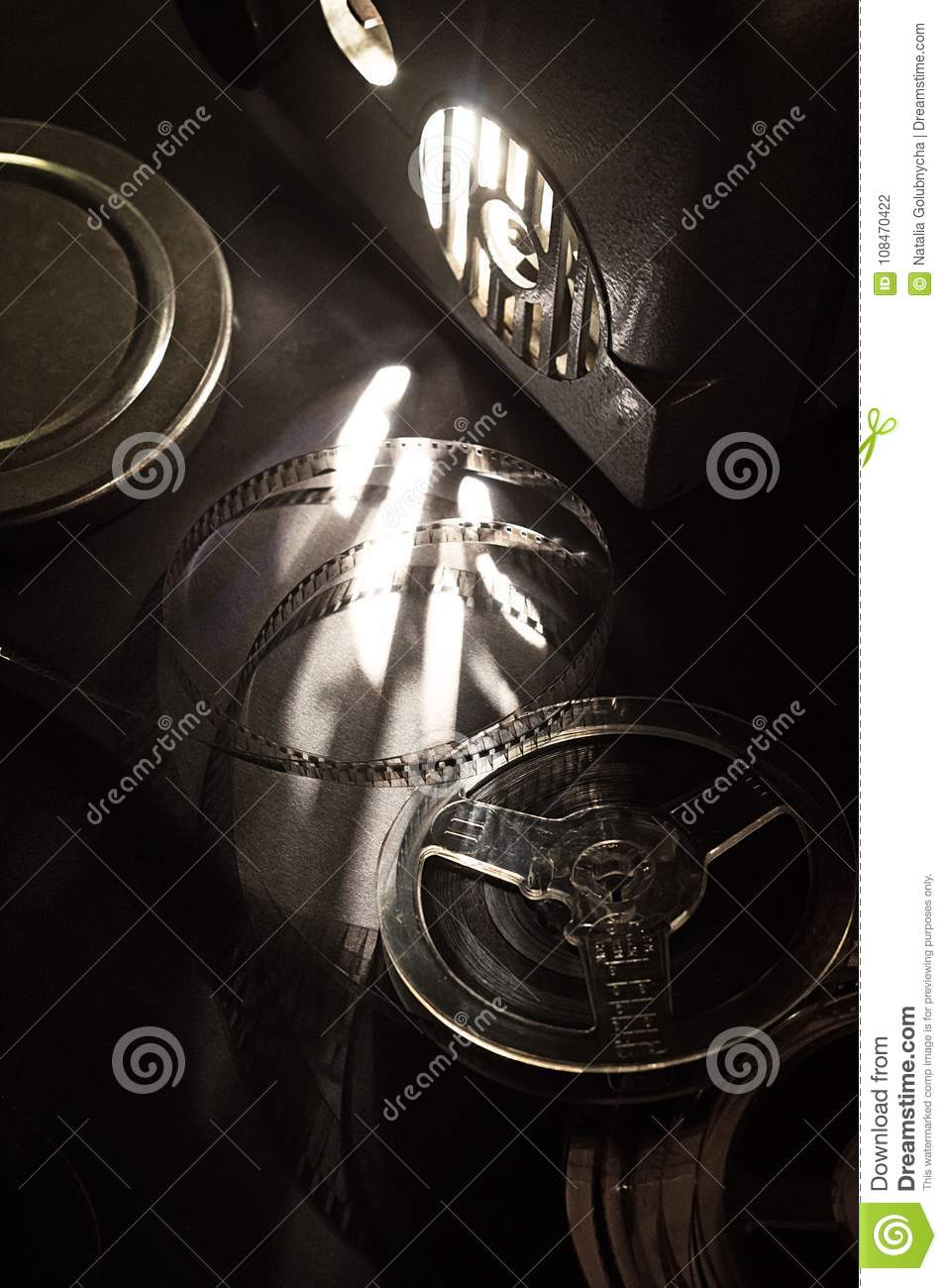 Download Old Cinema Projector And Cassettes In The Dark Stock Photo