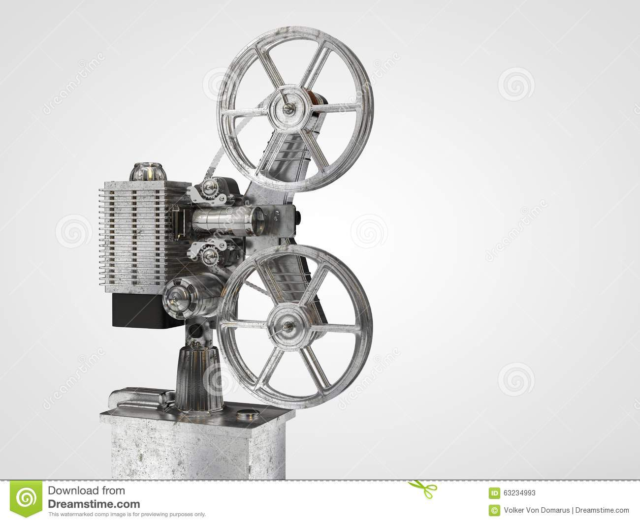 Old Film Projector Isolated Stock Illustration Illustration Of