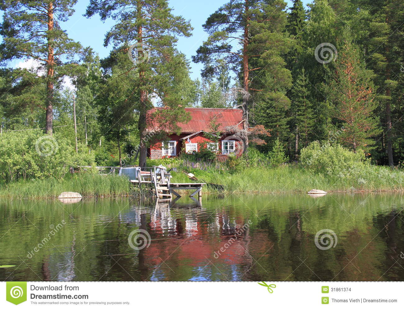Vacation Cabin Plans Finland Savonia Old Cabin At A Lake Stock Images Image