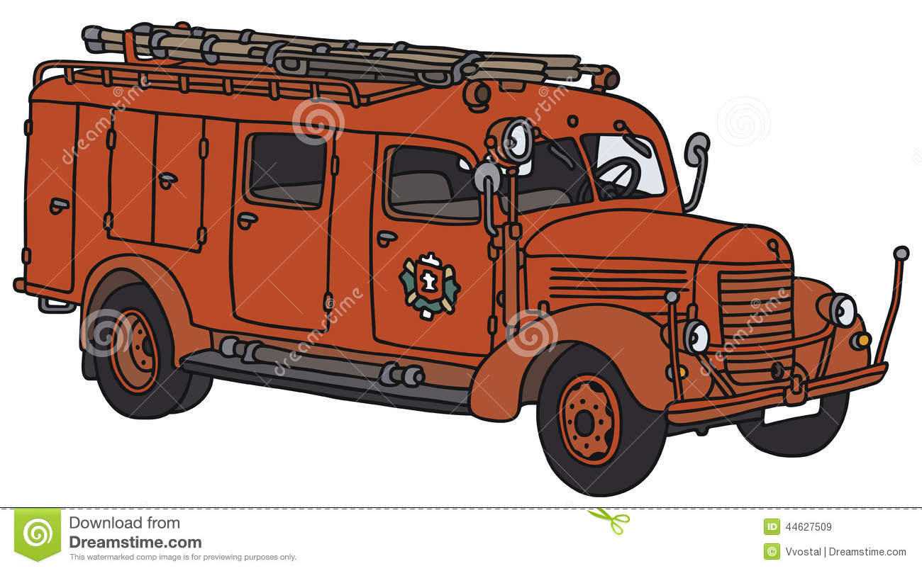 old fire truck stock vector illustration of cartoon 44627509