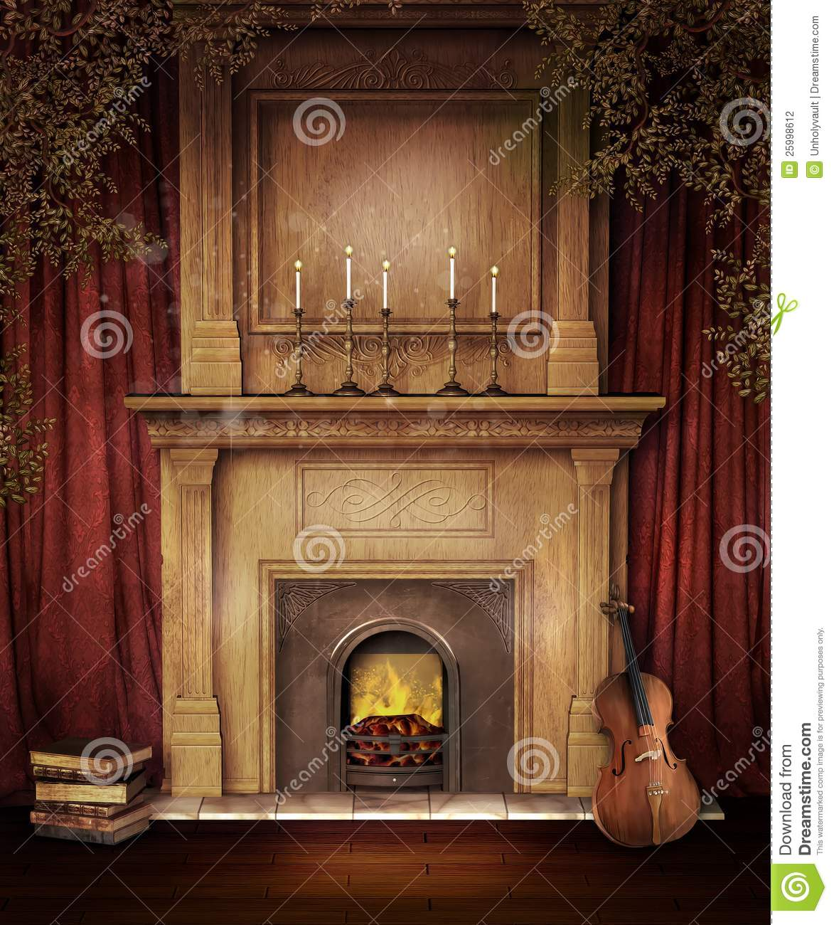 old fireplace with a violin stock photography image. Black Bedroom Furniture Sets. Home Design Ideas