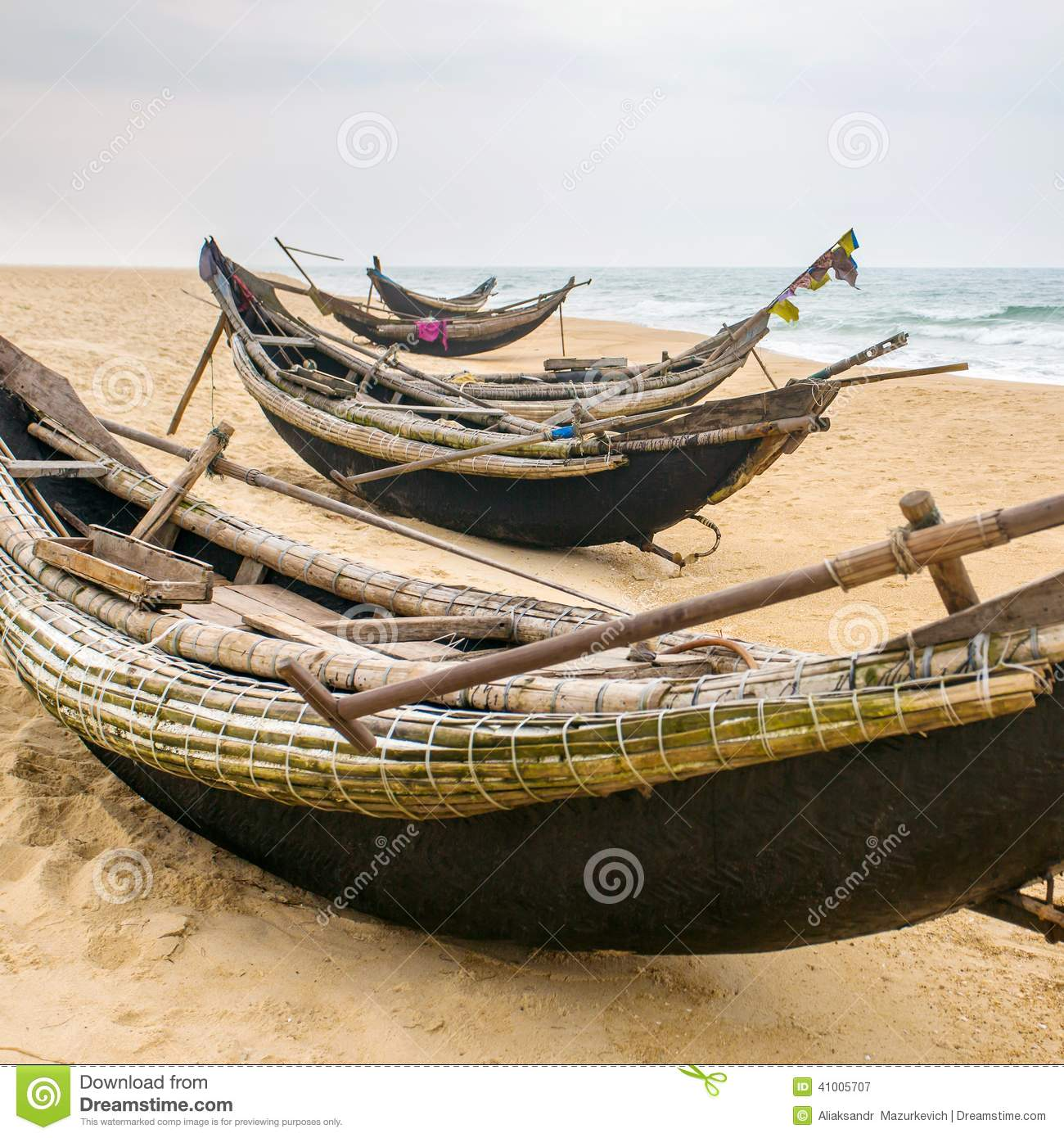 Old Fishing Boats On Beach: Old Fisherman Boats On The Beach In Hue Province Stock