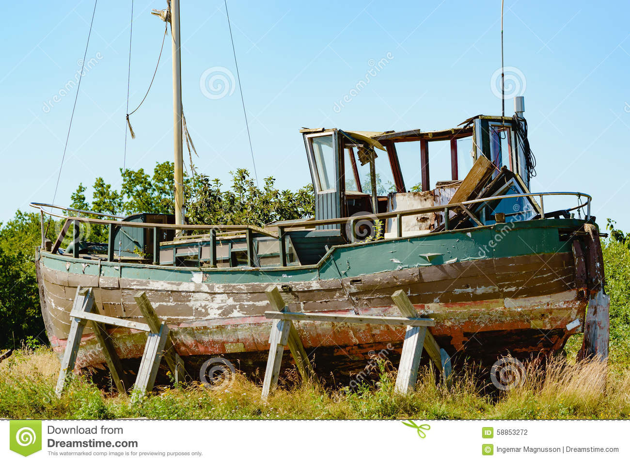 Old Fishing Boat Stock Photo Image Of Left Summertime 58853272