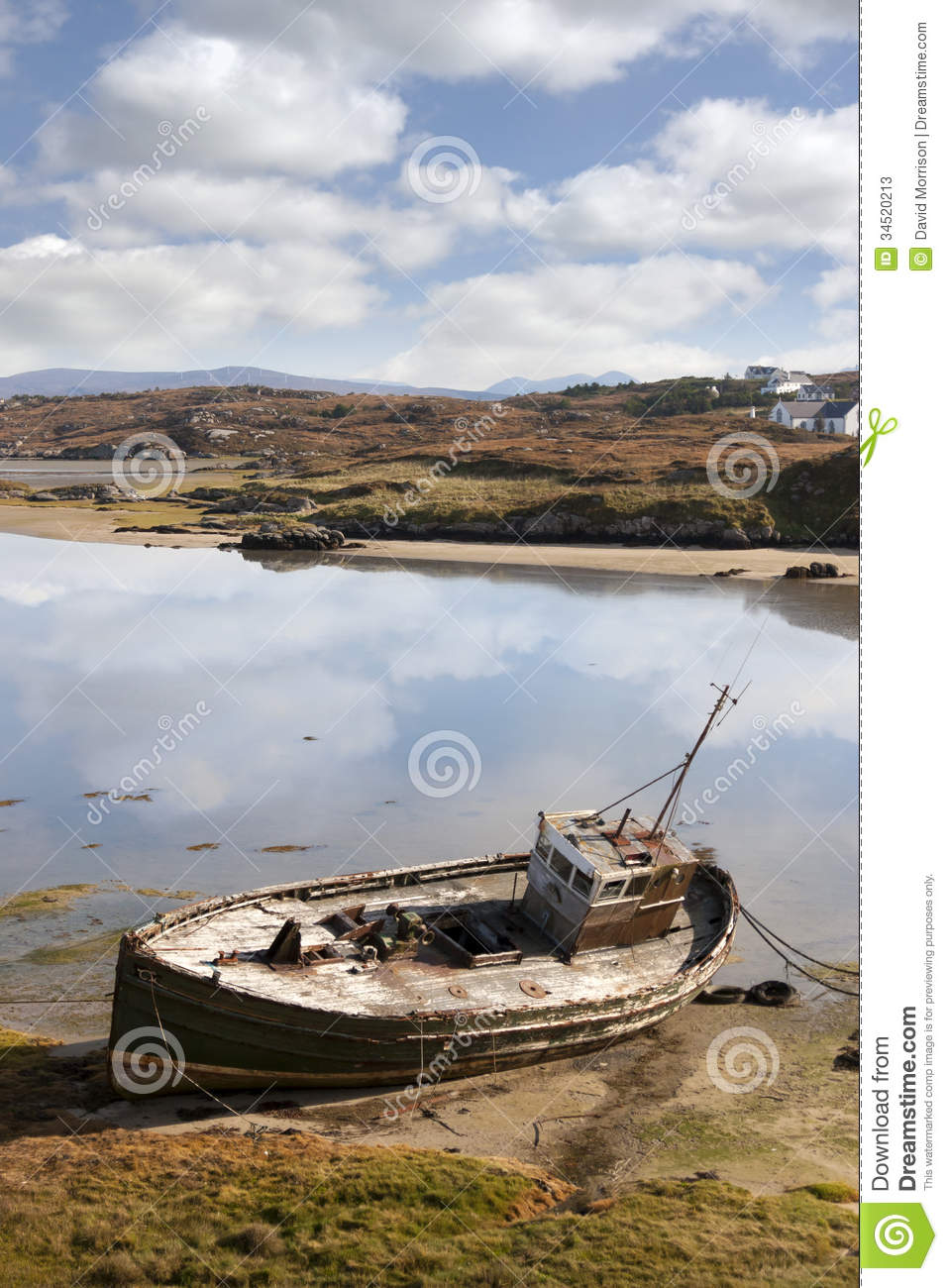 Old fishing boat beached on irish beach stock image for Fishing in ireland