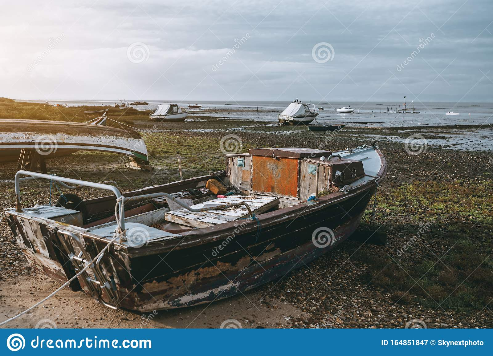 An Old Fishing Boat With A Cabin Stock Image Image Of Dead Empty 164851847