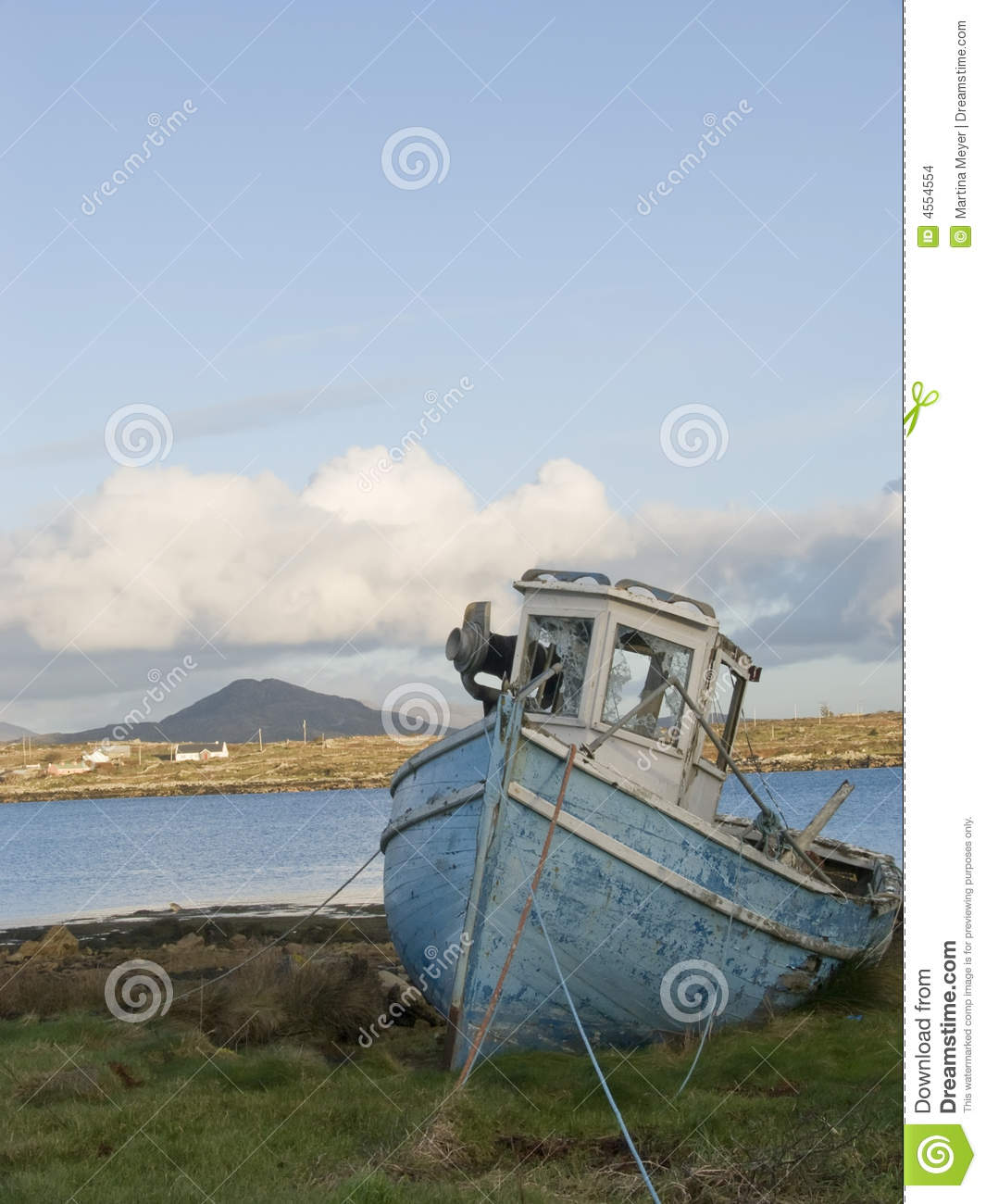 Old Fishing Boat In Ireland Stock Photo - Image of coast, cloudy: 4554554
