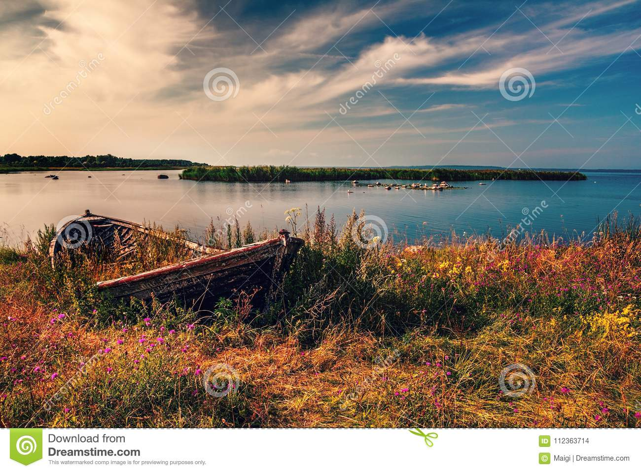 Download Old Fishing Boat stock photo. Image of ancient, golden - 112363714