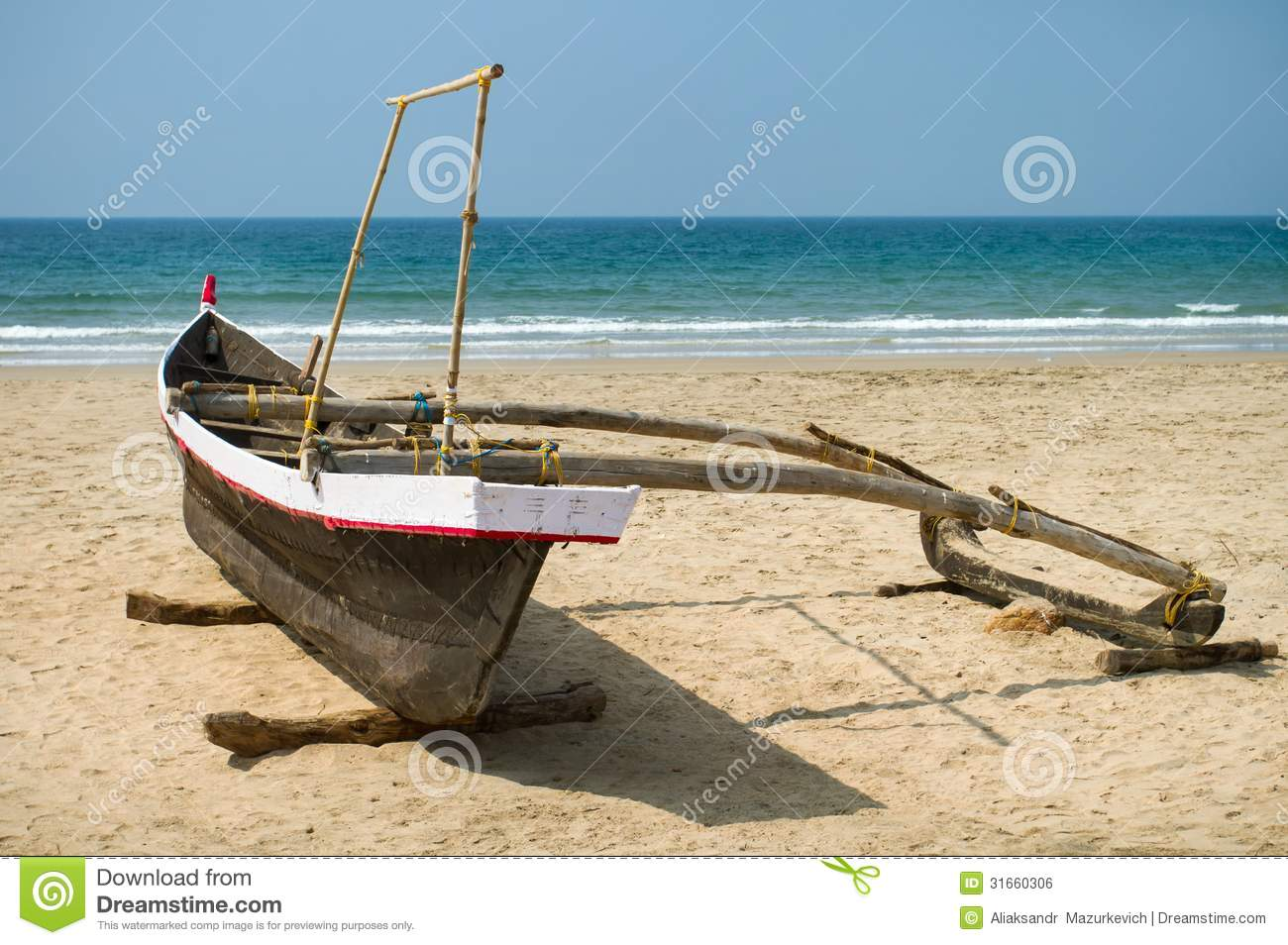 Old Fishing Boat On The Sandy Shore Royalty Free Stock ...