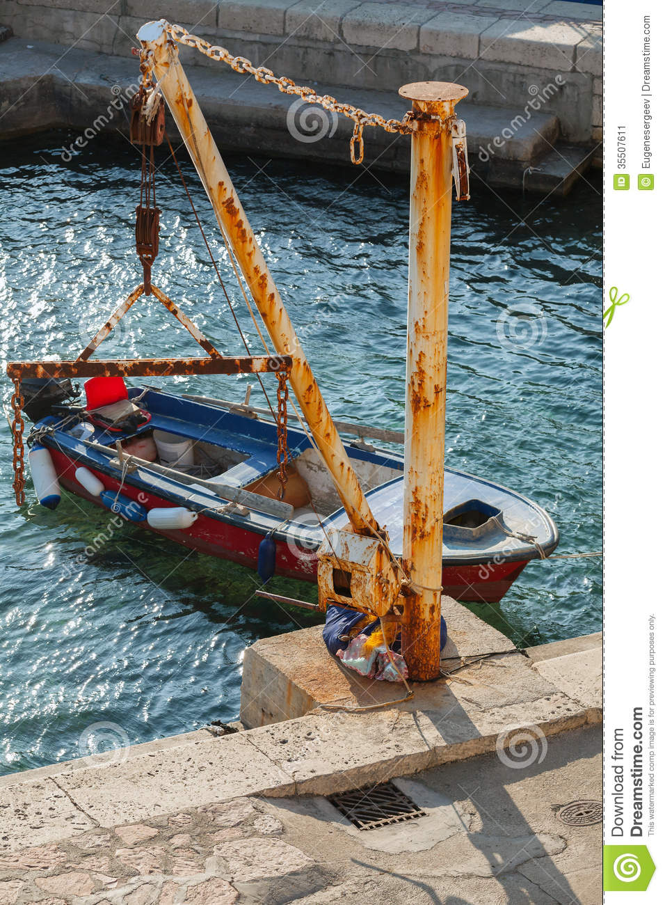 Old Fishing Boat And Small Crane In Port Stock Image ...