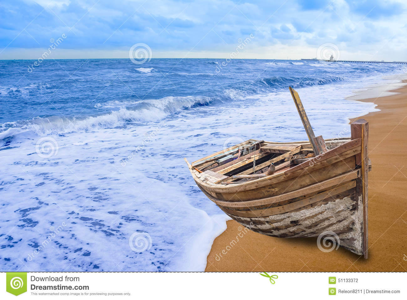 Old Fishing Boat Stranded On A Beach In Sunny Day Stock Photo - Image ...