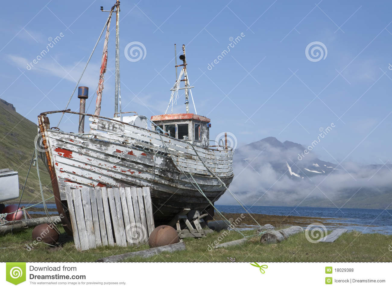 Old Fishing Boat In Strandir, Iceland Royalty Free Stock Photos ...
