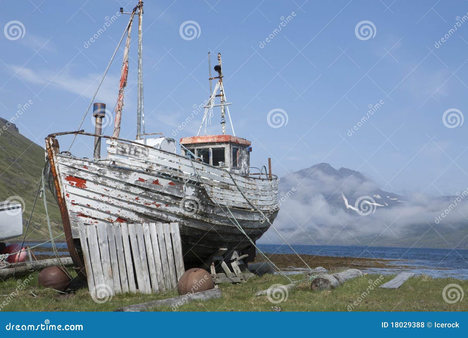 Old Fishing Boat In Strandir, Iceland Royalty Free Stock Photos ...