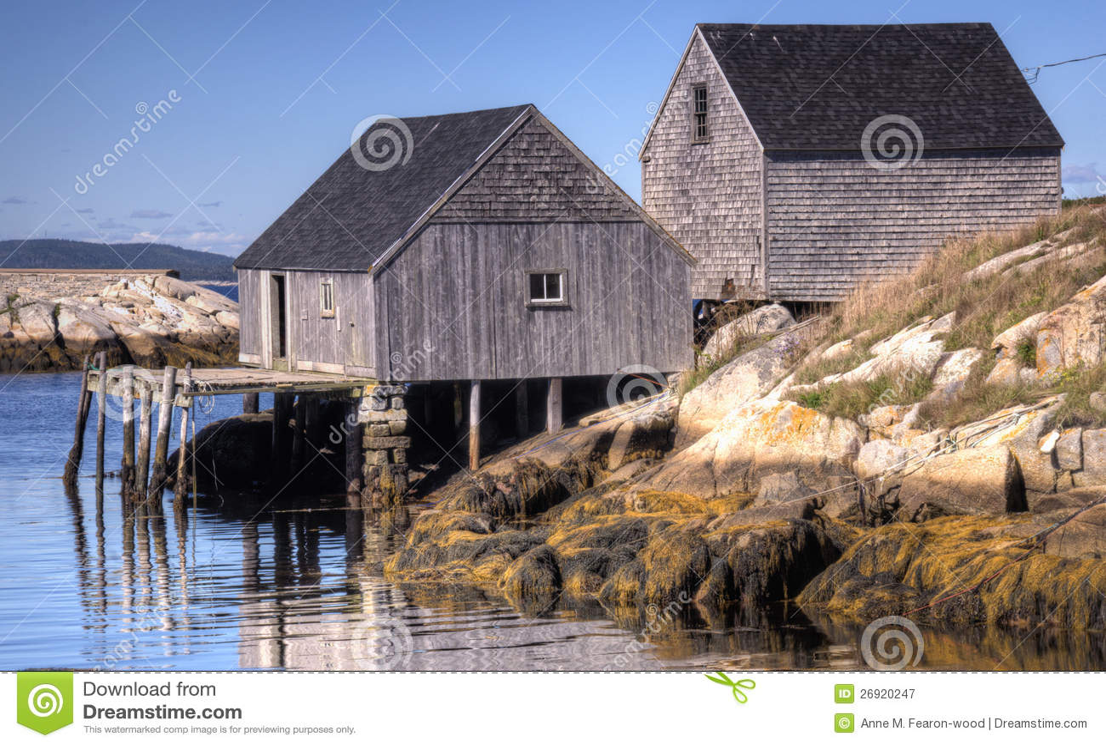 Old Fishing Shacks, Peggy's Cove, Nova Scotia Royalty Free Stock Photography - Image: 26920247