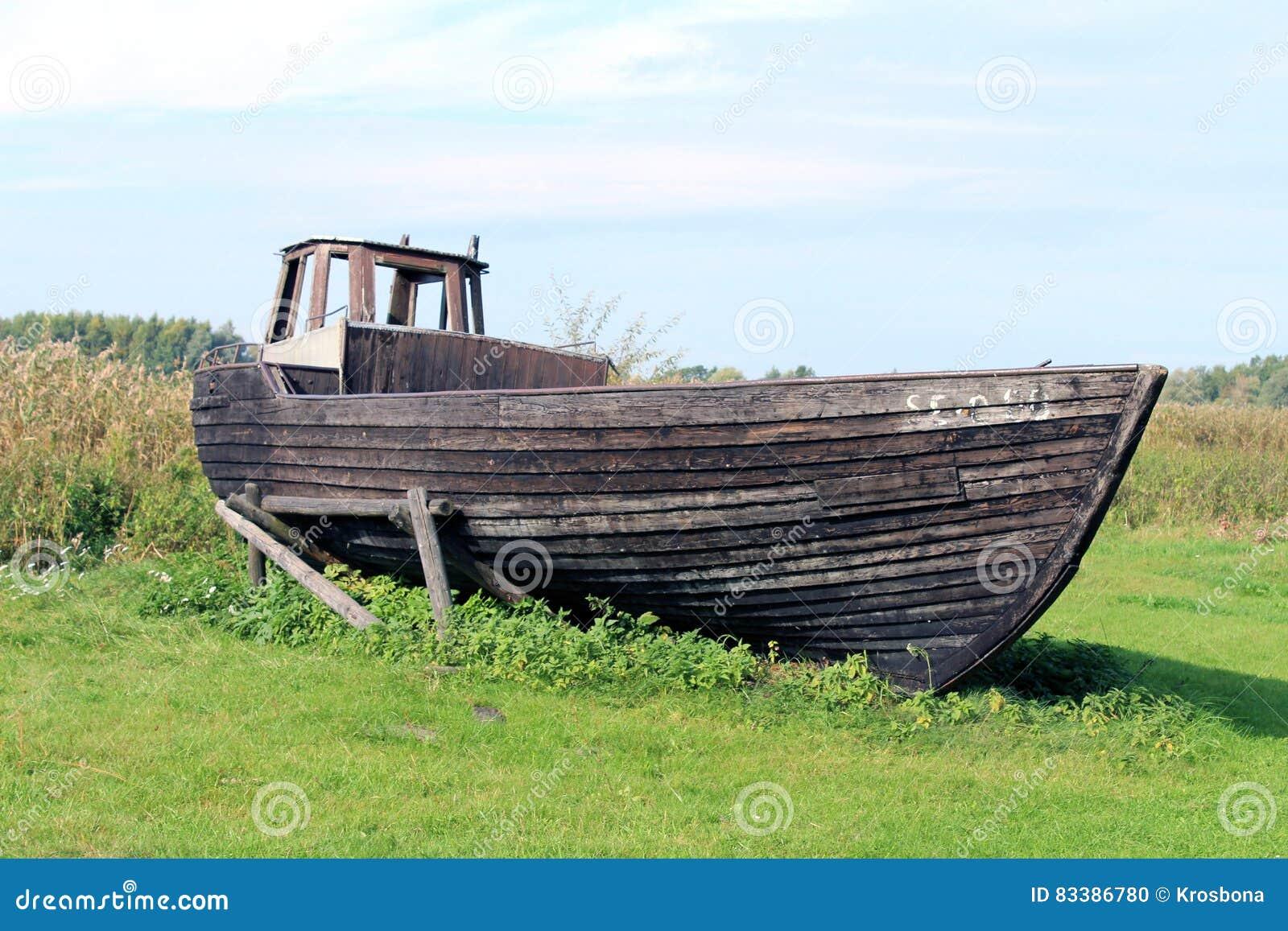 Old fishing wood boat