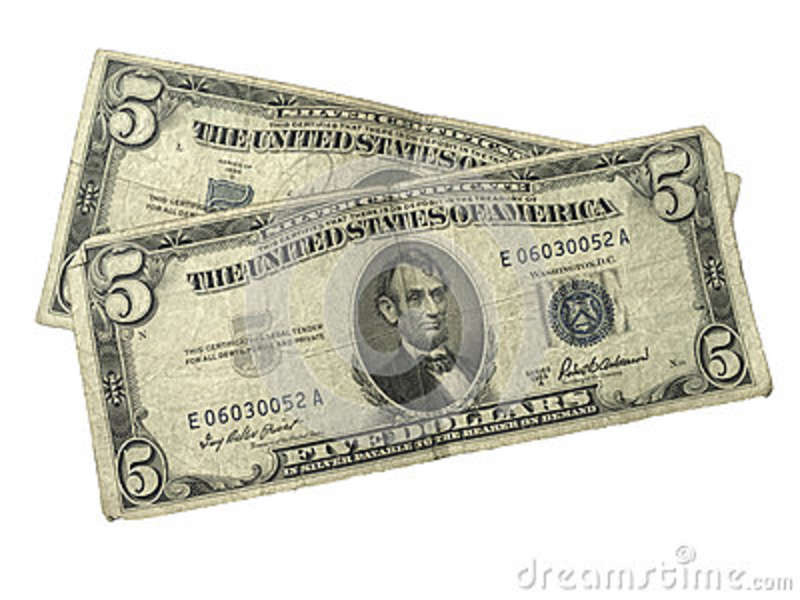 Old Five Dollar Silver Certificates Stock Image Image Of