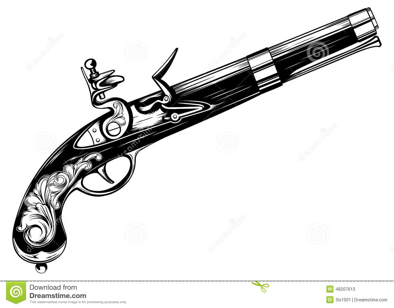 Old flintlock pistol stock vector. Image of ancient ...