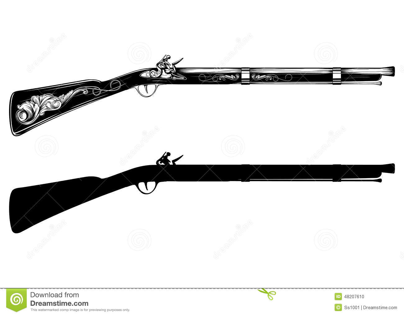 old flintlock rifle stock vector image 48207610 pirate pistol clipart pirate pistol clipart