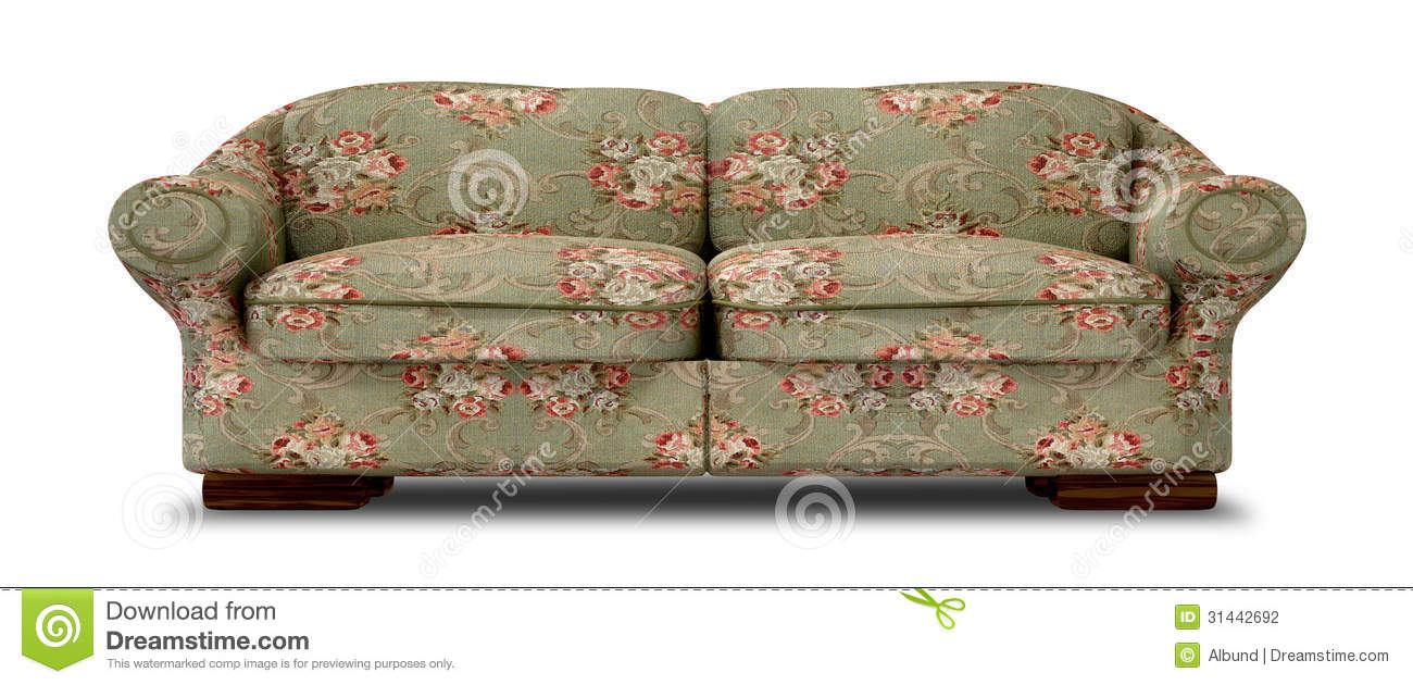 Old Floral Sofa Front Stock Photography Image 31442692