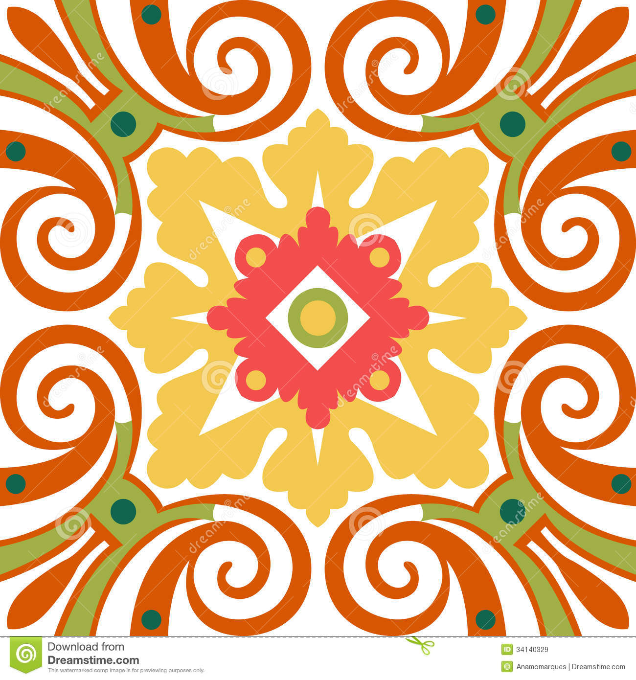 Old Floral Tiles Royalty Free Stock Images Image 34140329