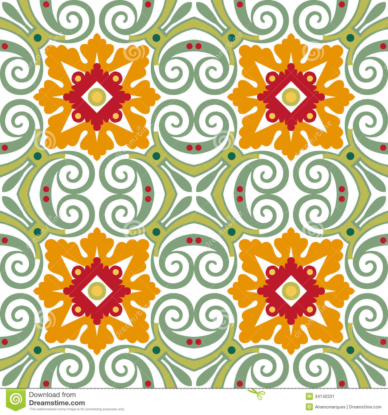 Old Floral Tiles Stock Vector Image Of Mosaic