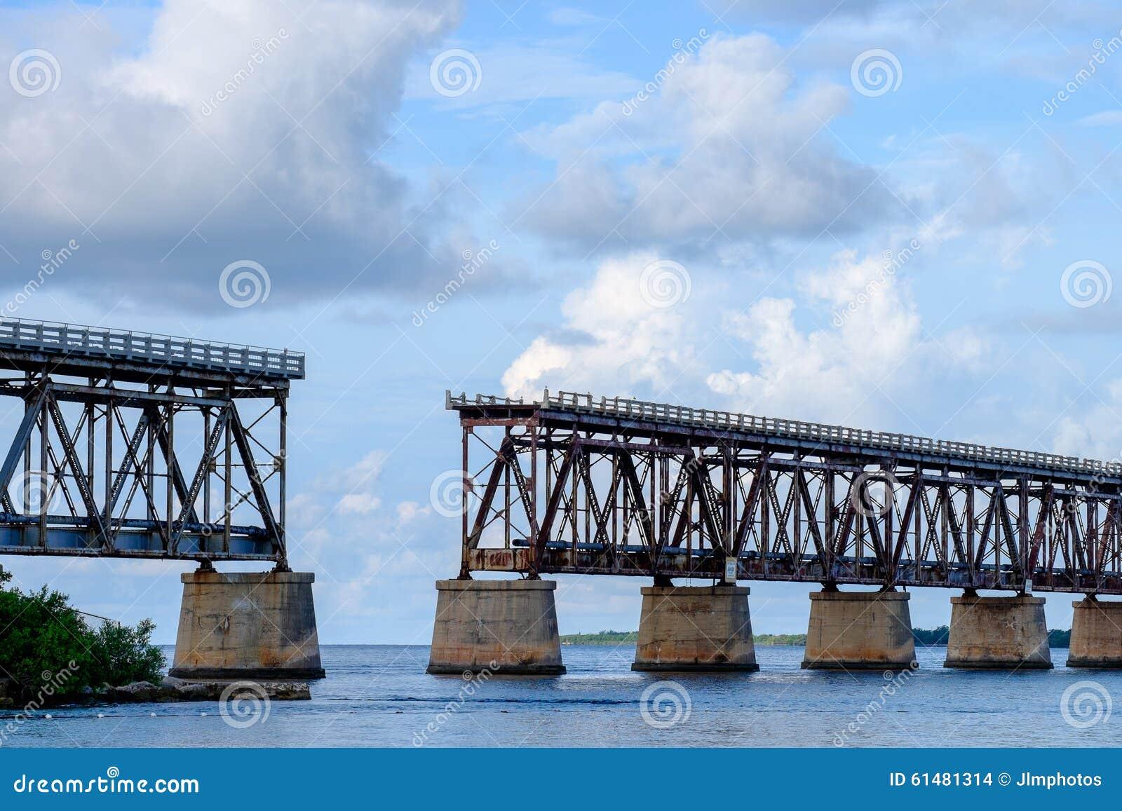 The old Florida East Coast Railway Pratt Truss bridge spanning b
