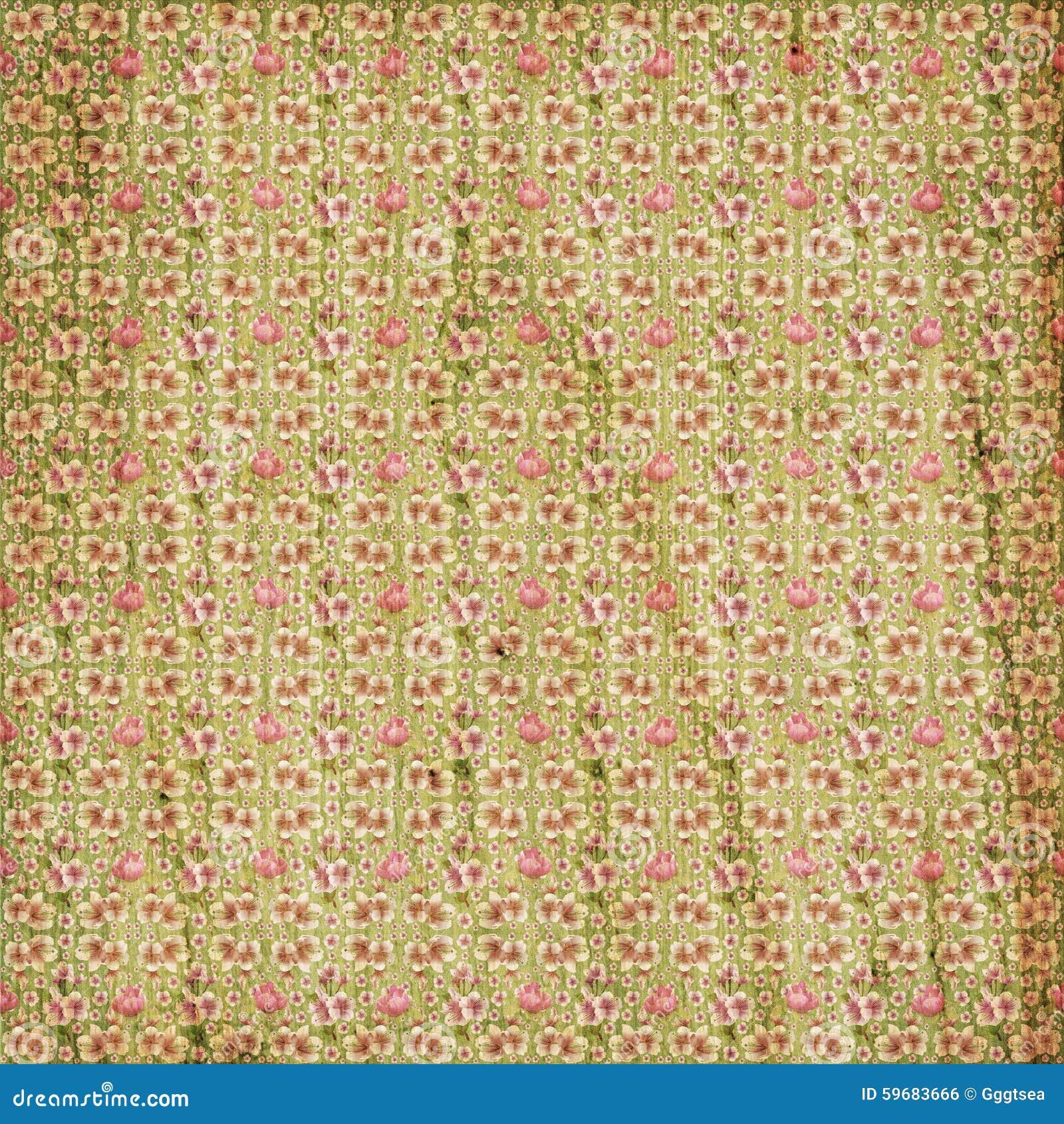 Old Flower Paper Wallpaper Stock Illustration Illustration Of