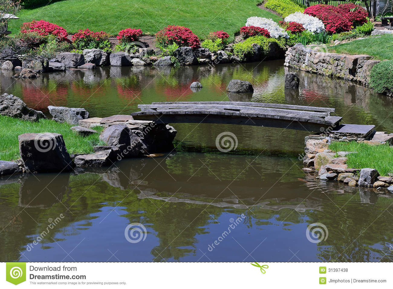 Old footbridge across a pond stock photo image 31397438 for Fish pond bridges