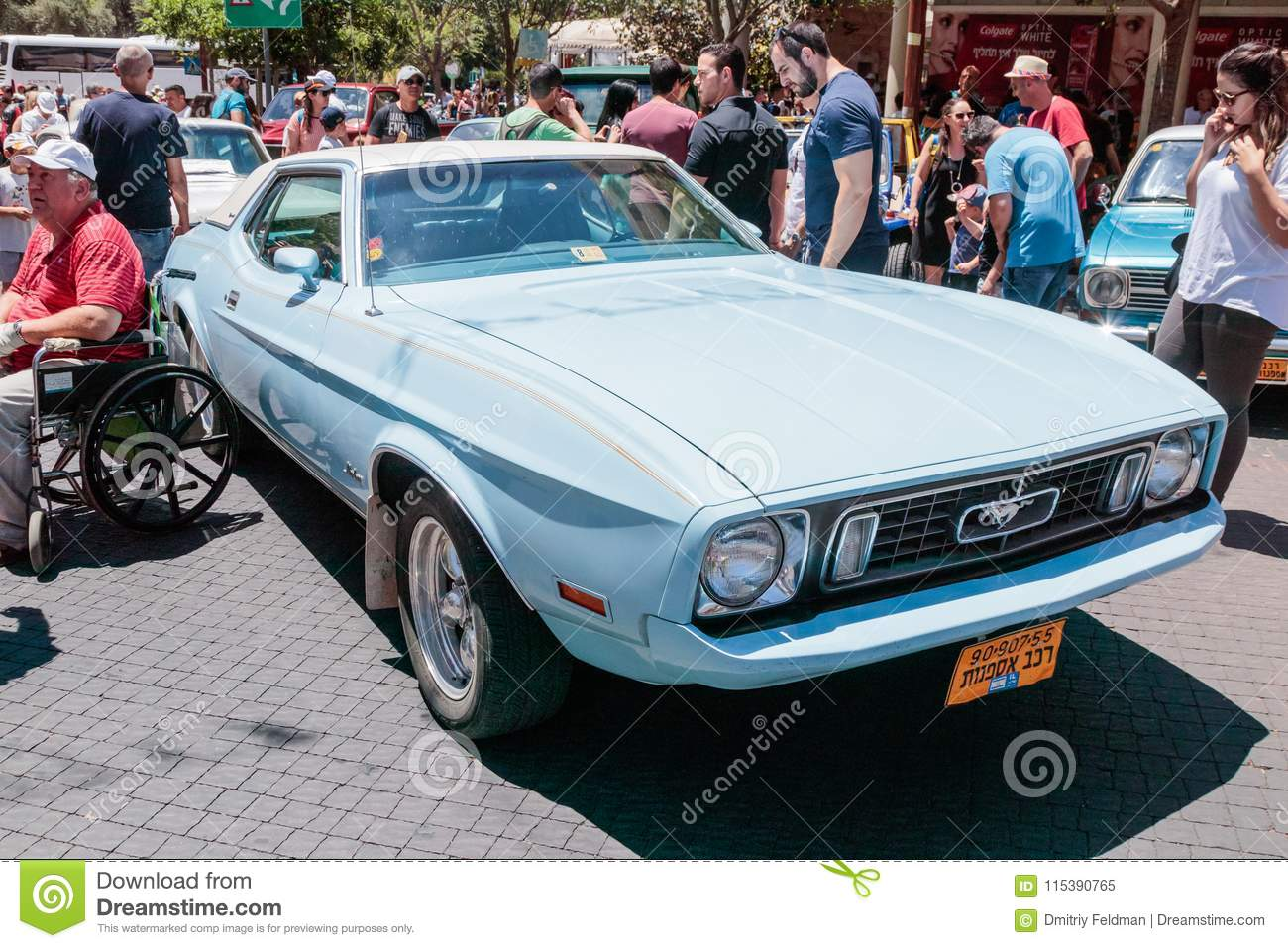 Karmiel israel may 31 2017 old ford mustang at an exhibition of old cars in the karmiel city