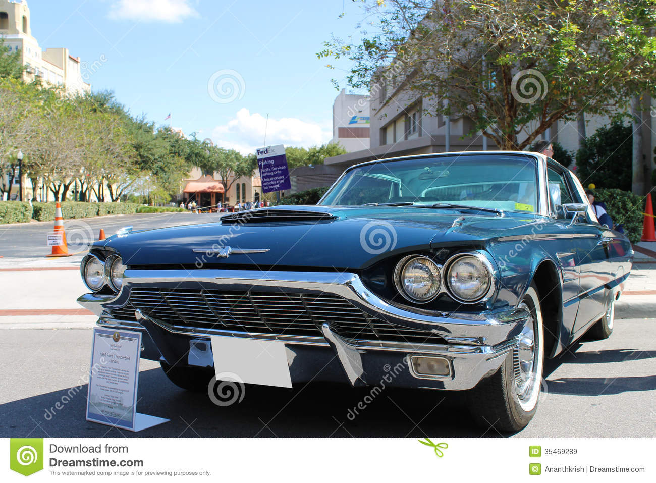 Old Ford Thunderbird Car At The Car Show Editorial Stock Image