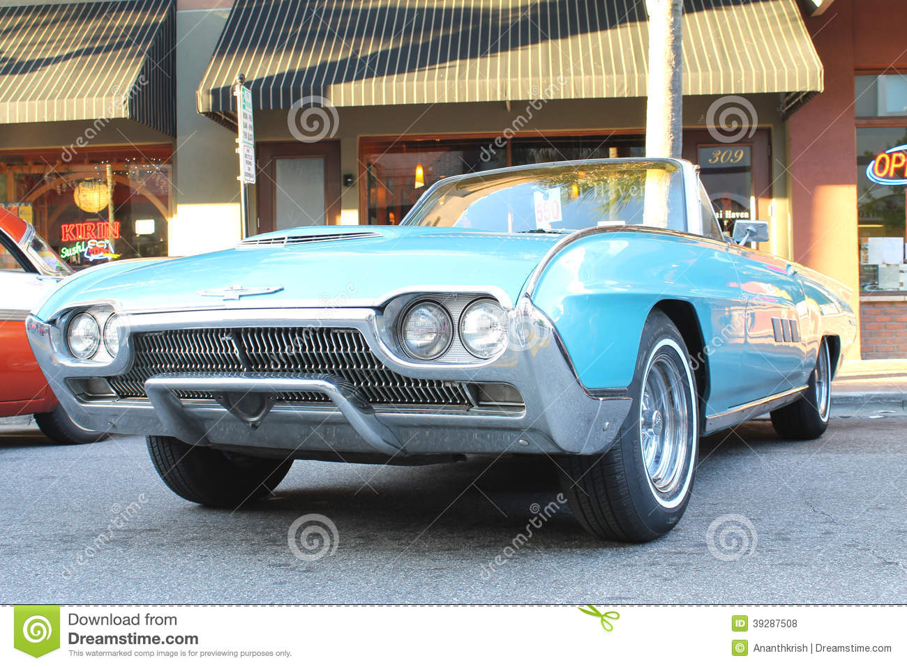 the old ford thunderbird car at the car show editorial stock photo image 39287508. Black Bedroom Furniture Sets. Home Design Ideas