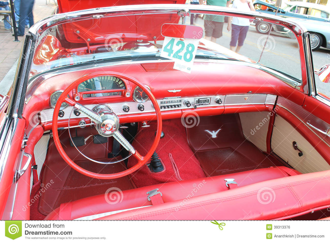 the old ford thunderbird car at the car show editorial photo image 39313376. Black Bedroom Furniture Sets. Home Design Ideas